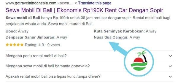 Capture google sewa mobil bali