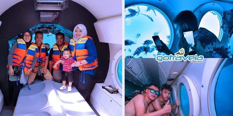 Aktifitas Wisata Anak Di Bali Selfie di dalam kapal selam