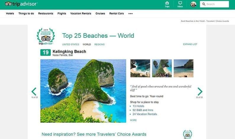 Kelingking Beach Travelers' Choice Awards 2019